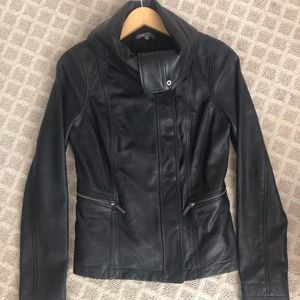 Vince Black Leather Scuba Jacket